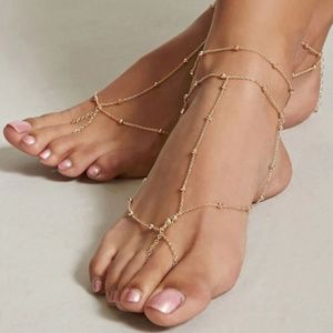 Gold or Silver Boho Layered Chain Barefoot Sandal